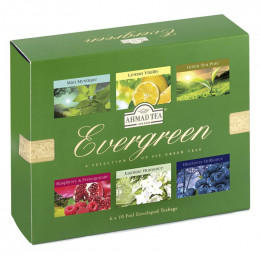 Coffret de Thés Verts Ahmad Tea London Evergreen - 6 parfums - 60 sachets