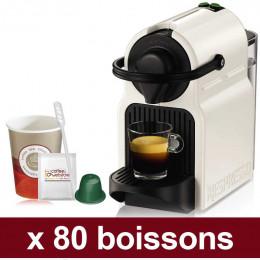 """Machine Nespresso Inissia Blanche avec capsules compatibles Orbica : Pack Pro """"Small"""" - 80 boissons"""