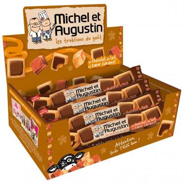 4 Petits Carrés À La Queue Leu Leu au Chocolat au Lait et Coeur Caramel - Carton 18 Pièces