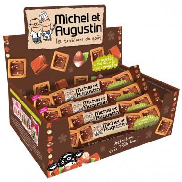 4 Petits Carrés À La Queue Leu Leu au Chocolat Noisettes et Éclats de Noisettes - Carton 18 Pièces