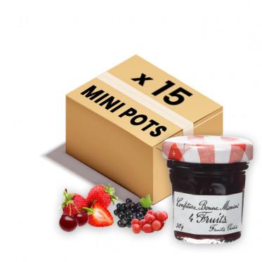 Confiture Bonne Maman - Mini pot en verre de confiture 4 fruits - 15x 30g