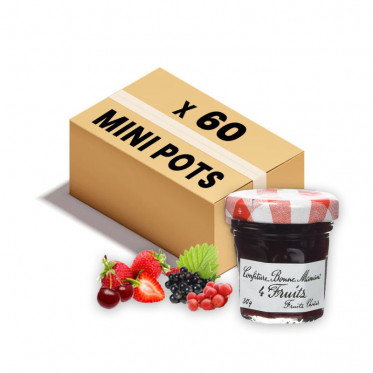 Confiture Bonne Maman - Mini pot en verre de confiture 4 fruits - 60x 30g
