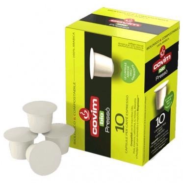 Capsules Nespresso Compatibles Covim Presso 100% Arabica - Bio et Compostable - 10 capsules