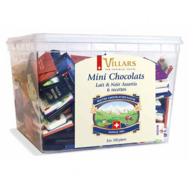 Mini chocolats Villars - Assortiment Noir et Lait 7 recettes (Napolitains) – 1 kg