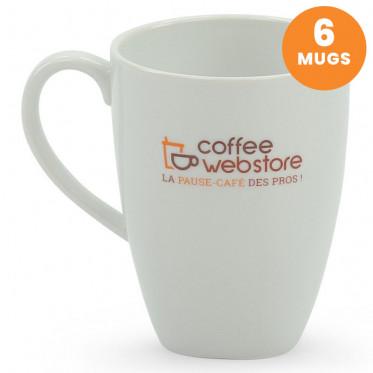 Tasse Coffee-Webstore porcelaine : Mugs 30 cl - 6 tasses et sous-tasses