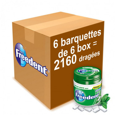 Chewing-gum Freedent Menthe Verte - Lot de 36 Box 84g - 2160 dragées