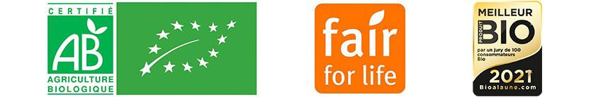 Label AB Bio, Fair for life et élue meilleur produit bio