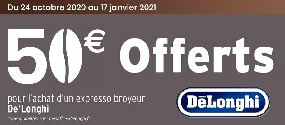 50€ offerts sur machine Delonghi